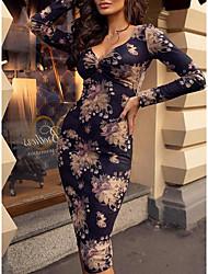abordables -Femme Soirée Sexy Midi Mince Moulante Robe Fleur Col en V Marine L XL XXL Manches Longues