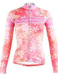 tanie -ILPALADINO Damskie Długi rękaw Koszulka rowerowa - Różowy Moda Rower Top Odporność na promieniowanie UV Sport Zima Elastyna Kolarstwo górskie Kolarstwie szosowym Odzież