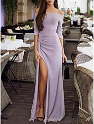abordables -Femme Soirée Sexy / Elégant Maxi Mince Moulante Robe - Fendu Epaules Dénudées Marine Gris Champagne XL XXL XXXL Manches Longues