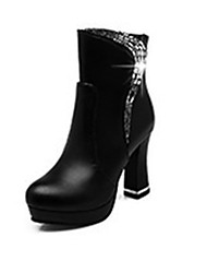 cheap -Women's Faux Leather Spring &  Fall Minimalism Boots Chunky Heel Closed Toe Mid-Calf Boots Black / Red / Party & Evening