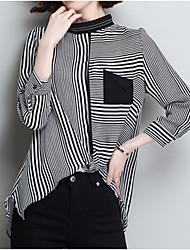 Недорогие -Жен. Пэчворк Блуза Классический Полоски Черное и белое
