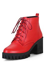 Недорогие -Жен. Полиуретан Наступила зима Ботинки На толстом каблуке Круглый носок Ботинки Бежевый / Красный / Розовый