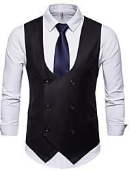 저렴한 -남성용 일상 사업 플러스 사이즈 보통 조끼, 솔리드 셔츠 카라 긴 소매 폴리에스테르 블랙 / 카멜 / 그레이 XXL / XXXL / XXXXL