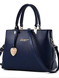 baratos -Mulheres Bolsas PU Bolsa de Ombro Ziper Azul Escuro / Cinzento Claro / Vinho