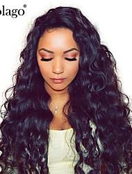 Недорогие -человеческие волосы Remy Необработанные натуральные волосы 100% ручная работа Полностью ленточные Парик Бразильские волосы Волнистый Свободные волны Парик 180% Плотность волос / Природные волосы