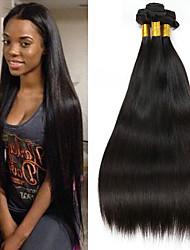 Недорогие -3 Связки Индийские волосы Прямой 8A Натуральные волосы Необработанные натуральные волосы Головные уборы Человека ткет Волосы Сувениры для чаепития 8-28 дюймовый Естественный цвет