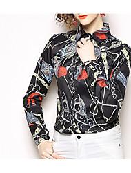 Недорогие -женская рубашка - воротник с радужной рубашкой
