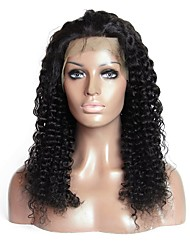 cheap -Virgin Human Hair Remy Human Hair Lace Front Wig Layered Haircut Middle Part Side Part style Brazilian Hair Jerry Curl Natural Straight Wig 180% Density Soft Natural Natural Hairline African American