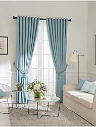 Недорогие -шторы шторы две панели спальня однотонная хлопок / полиэстер окрашенная пряжа