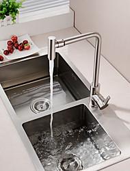 Недорогие -кухонный смеситель - Одной ручкой одно отверстие Матовый никель Настольная установка Современный