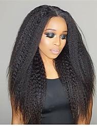 Недорогие -Необработанные натуральные волосы Лента спереди Парик Бразильские волосы Прямой Черный Парик Глубокое разделение 150% Плотность волос с детскими волосами Лучшее качество Удобный Нейтральный Черный