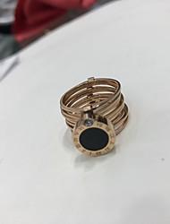 billige -Dame Klassisk Band Ring - Titanium Stål 7 Guld / Kaffe / Rose Til Daglig