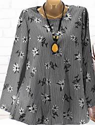 billige -Dame - Blomstret Trykt mønster Basale Skjorte