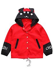 billige -Baby Jente Grunnleggende Geometrisk Langermet Polyester Kjole Rød