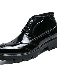 abordables -Homme Fashion Boots Faux Cuir Automne hiver Décontracté Bottes Augmenter la hauteur Bottine / Demi Botte Bloc de Couleur Noir