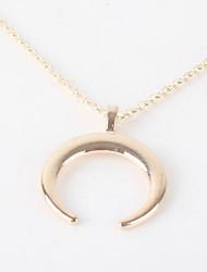 رخيصةأون -نسائي كلاسيكي قلائد الحلي - مطلي بالفضة, مطلية بالذهب MOON أنيق, بسيط ذهبي, فضي 52 cm قلادة مجوهرات 1PC من أجل هدية, مناسب للبس اليومي