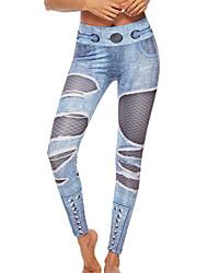 billige -Dame Daglig Basale Legging - Ensfarvet Medium Talje