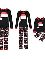 Недорогие -Семейный вид Классический Рождество / Повседневные Геометрический принт Длинный рукав Полиэстер Набор одежды Черный