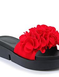 baratos -Mulheres Camurça Verão Doce / Minimalismo Chinelos e flip-flops Creepers Dedo Aberto Flor de Cetim Preto / Vermelho / Verde