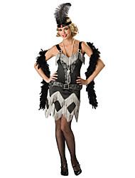 abordables -Gatsby le magnifique Rétro Années 20 Costume Femme Bal Masqué Robe à clapet Robe de cocktail Noir Vintage Cosplay Polyester Soirée Fête scolaire Sans Manches Accueil froid Mi-long / Glands