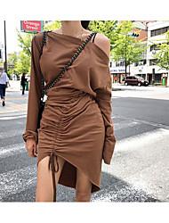baratos -Mulheres Elegante Camisa Vestido Altura dos Joelhos