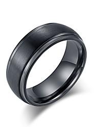 Недорогие -Муж. Кольцо 1шт Черный Серебряный Вольфрамовая сталь Нержавеющая сталь Стиль Классический модный Свадьба Для вечеринок Бижутерия Классический Cool