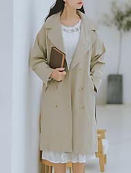 Недорогие -Жен. Повседневные Классический Длинная Пальто, Однотонный Лацкан с тупым углом Длинный рукав Полиэстер Хаки S / M / L