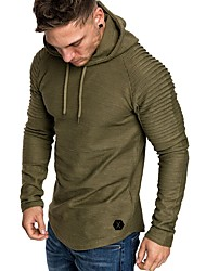 Недорогие -мужская длинная рукавная трубка с капюшоном - сплошной цвет с капюшоном