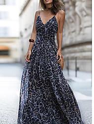 Недорогие -Жен. Для вечеринок / Пляж Туника Платье - Леопард V-образный вырез Макси / Сексуальные платья