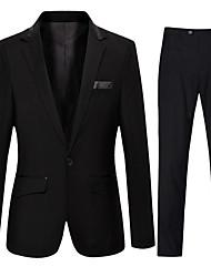 Недорогие -Муж. Повседневные Уличный стиль Обычная Костюмы, Однотонный Рубашечный воротник Длинный рукав Полиэстер Черный L / XL / XXL / Бизнес-формальный / Тонкие