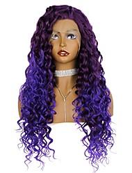 Недорогие -Синтетические кружевные передние парики Жен. Кудрявый / Loose Curl Фиолетовый Свободная часть 180% Человека Плотность волос Искусственные волосы 24 дюймовый / Лента спереди / Да / Лента спереди