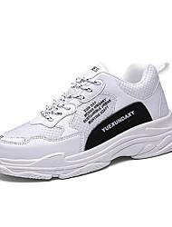 abordables -Homme Chaussures de confort Faux Cuir / Matière synthétique Automne hiver Rétro / Décontracté Basket Augmenter la hauteur Bloc de Couleur Blanc / Rouge