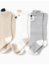 Недорогие -3 пары Мальчики / Девочки Носки Standard Мультипликация Calm Простой стиль Хлопок 0-6 месяцев / 7-12 месяцев