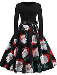 abordables -Femme Sortie Mi-long Trompette / Sirène Robe Noir L XL XXL Coton Manches Longues