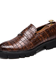 abordables -Homme Chaussures de confort Faux Cuir Automne British Mocassins et Chaussons+D6148 Augmenter la hauteur Noir / Marron / Gland