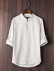 Недорогие -Муж. Рубашка Шинуазери (китайский стиль) Однотонный