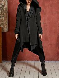 رخيصةأون -نسائي أبيض أسود XL XXL XXXL معطف أساسي لون سادة