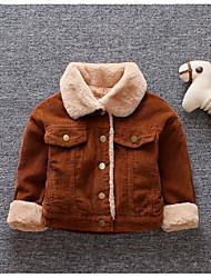 Недорогие -малыш Мальчики Классический Однотонный Длинный рукав Обычная На пуховой / хлопковой подкладке Коричневый