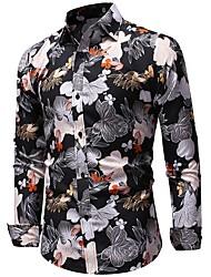 Недорогие -Муж. Офис Рубашка Геометрический принт / Длинный рукав
