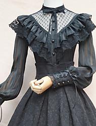billiga -Söt Lolita Casual Lolita Klänning Söt Lolita Elegant Spets Dam Blus / Skjorta Cosplay Vit / Svart Juliet Långärmad Kostymer