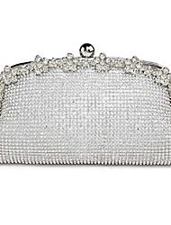 Недорогие -Жен. Мешки Шелк Вечерняя сумочка Кристаллы Белый