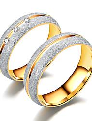 Недорогие -Для пары Белый Цирконий Кольцо - Титановая сталь, нержавеющий, Искусственный бриллиант Звезда Дамы, Простой, Роскошь, Классика, Романтика Бижутерия Золотой / Белый Назначение