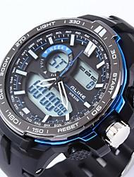 Недорогие -Муж. Спортивные часы электронные часы Кварцевый силиконовый Черный Календарь Секундомер С двумя часовыми поясами Аналоговый Цифровой На каждый день Мода - Красный Зеленый Синий / Хронометр