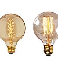 Недорогие -2pcs 40 W E26 / E27 G95 Тёплый белый 2200-2700 k Ретро / Диммируемая / Декоративная Лампа накаливания Vintage Эдисон лампочка 220-240 V