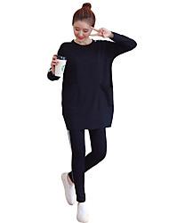 billiga -Dam Ficka Träningsoverall - Svart, Grå sporter Rand Collegetröja / Skinniga byxor Yoga, Fitness, Gym Långärmad Sportkläder Andningsfunktion, Håller värmen, Mjuk Elastisk Plusstorlekar / Vinter