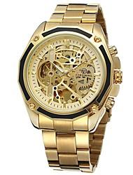 Недорогие -Муж. Нарядные часы Часы со скелетом Кварцевый Нержавеющая сталь Серебристый металл / Золотистый Защита от влаги С гравировкой Фосфоресцирующий Аналоговый Классика На каждый день Мода -