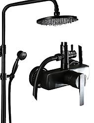 abordables -Robinet de douche - Antique Bronze huilé Set de centre Soupape céramique Bath Shower Mixer Taps / Laiton / Mitigeur Trois trous