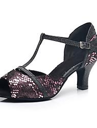 Недорогие -Жен. Обувь для латины Овчина На каблуках Блеск Кубинский каблук Персонализируемая Танцевальная обувь Цвет радуги