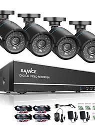 baratos -Sannce® 8ch 4 em 1 720p hdmi ahd cctv dvr 4pcs 1.0 mp ir sistema de vigilância de câmera de segurança ao ar livre