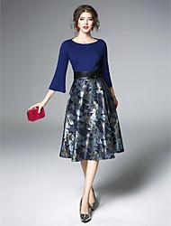 hesapli -Kadın's Vintage / sofistike Ayrık Kol Kılıf Elbise - Jakarlı, Büzgülü Kayık Yaka Midi Mavi